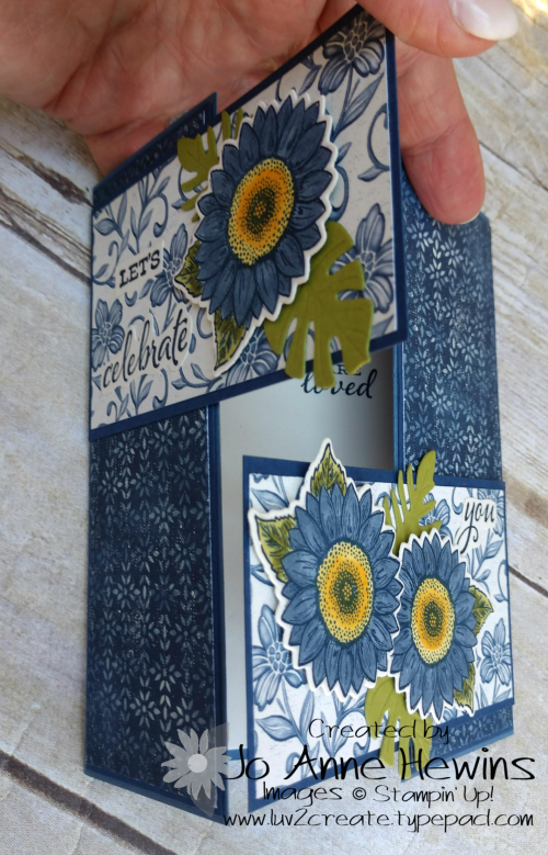 Interlocking Gate Fold with Boho Indigo and Celebrate Sunflowers Opening More by Jo Anne Hewins