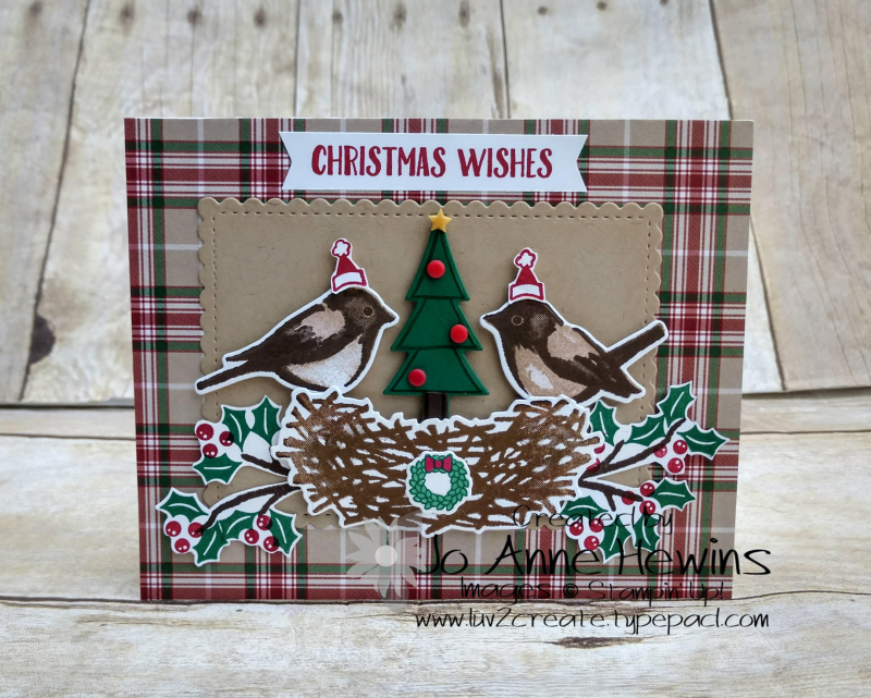 NC Demo Blog Hop Birds & Branches Christmas Card by Jo Anne Hewins