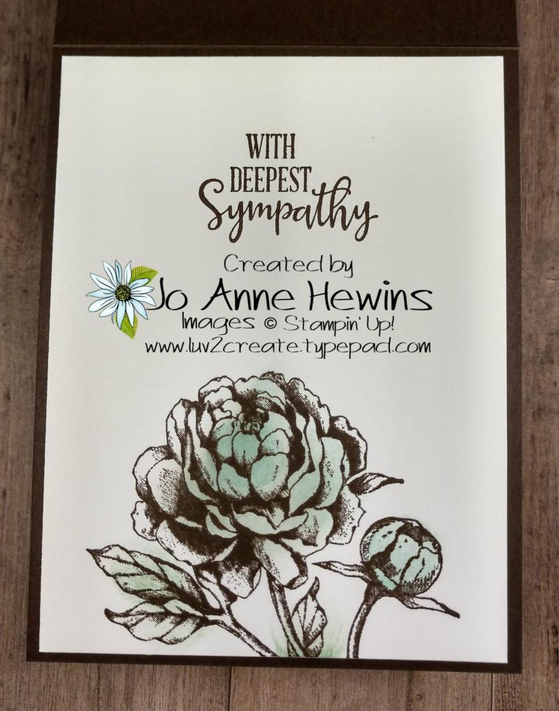 Prized Peony Sympathy Inside by Jo Anne Hewins
