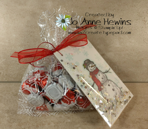 Snow Wonder Shaker Tag and Mosaic Gusseted Cello Bag by Jo Anne Hewins