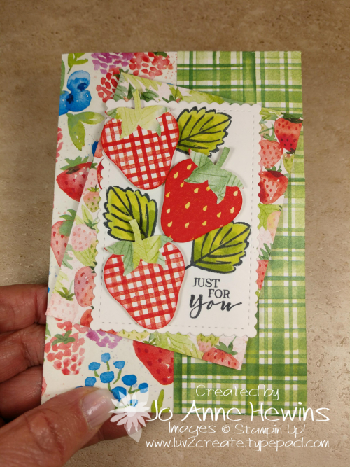 Sweet Strawberry NC Note Card Holder by Jo Anne Hewins