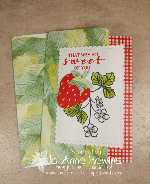 Sweet Strawberry NC Note Card Holder Card 2 by Jo Anne Hewins