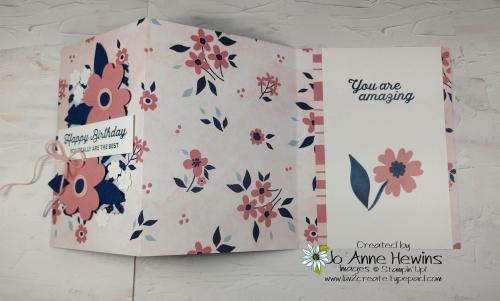 Paper Blooms DSP Fun Fold Card Open by Jo Anne Hewins