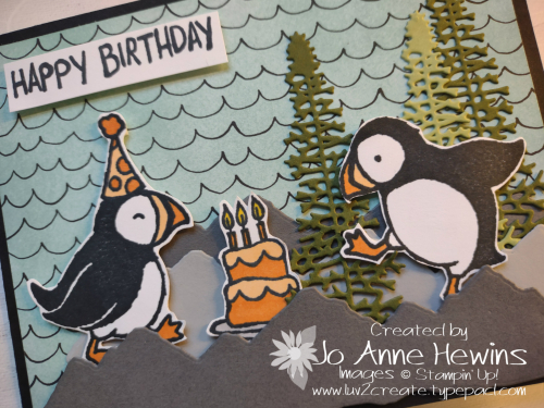 Party Puffins W Fold Close Up by Jo Anne Hewins
