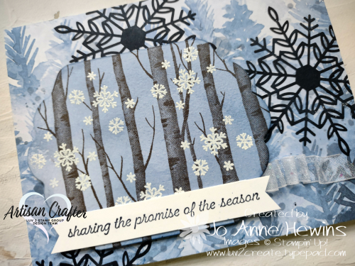 CCMC #683 Welcoming Woods  Close Up  Beauty of the Earth DSP  Seasonal Labels dies  Wonderful Snowflakes by Jo Anne Hewins