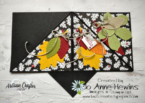 Teepee Card  Pattern Party DSP  Stitched Leaves dies  Love of Leaves by Jo Anne Hewins