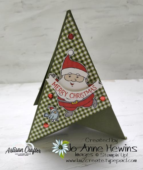 Teepee Card Side 1 Be Jolly  Heartwarming Hugs DSP  by Jo Anne Hewins