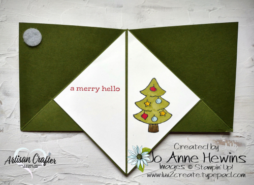 Teepee Card with Be Jolly  Banner Year  Heartwarming Hugs  Blends  Sequins for Everything  Jo Anne Hewins  Inside of Card