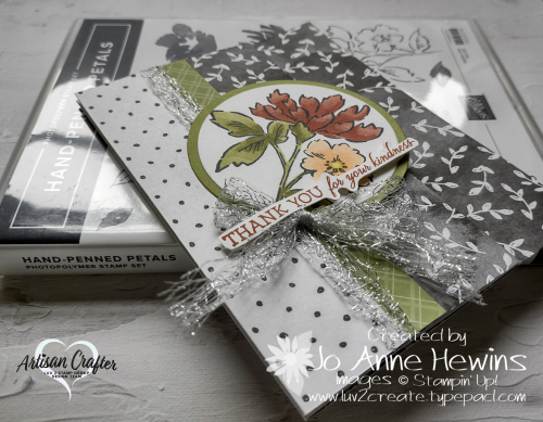 Beautifully Penned with Hand-Penned Petals with stamp set  accordian fold  by Jo Anne Hewins