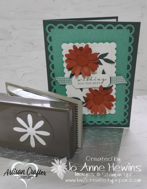 Color Fusers October Card with Stitched Greenery  Mini Daisy Punch  Scallop Contours dies  Forever Flourishing dies  Jo Anne Hewins  Luv 2 Create