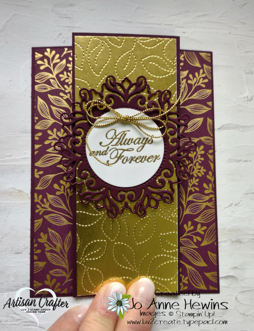 Blackberry Beauty Wedding Card  Encircled in Beauty dies  Gold Foil  Forever Blossoms  Gold Embossing  Metallics Emboss Powders  Layering Circles dies  Stitched Greenery die  Simply Elegant Trim  Jo Anne Hewins  Luv 2 Create