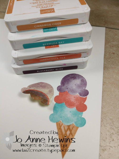 Ice Cream Corner Suite Stamped Masked Cone by Jo Anne Hewins