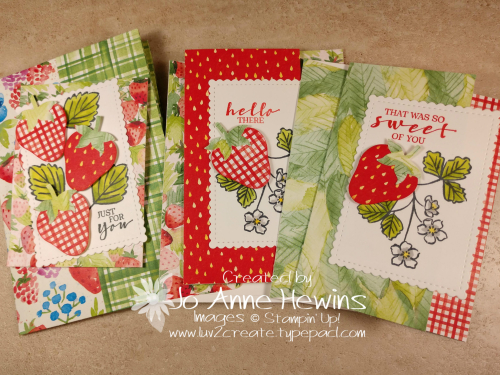 Sweet Strawberry NC Note Card Holder and Cards by Jo Anne Hewins