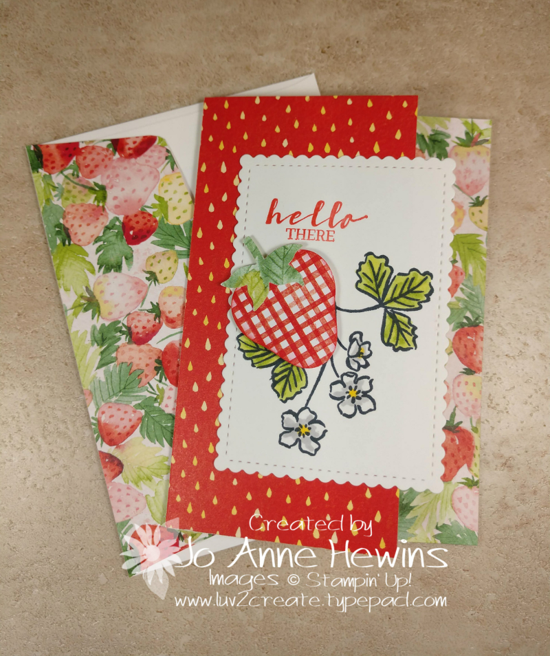 Sweet Strawberry NC Note Card Holder Card 1 by Jo Anne Hewins