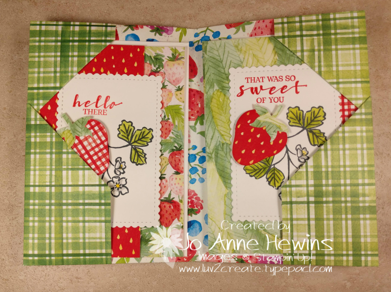 Sweet Strawberry NC Note Card Holder Open by Jo Anne Hewins