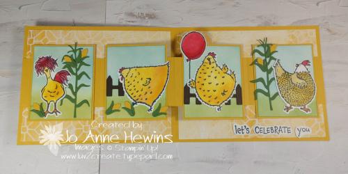 W Card Fold Hey Chicken Inside by Jo Anne Hewins