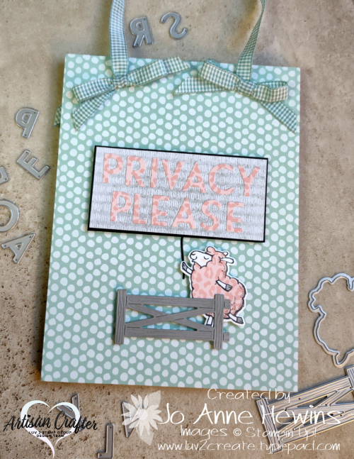 Counting Sheep Sagan's Door Sign Privacy Side with Bows by Jo Anne Hewins