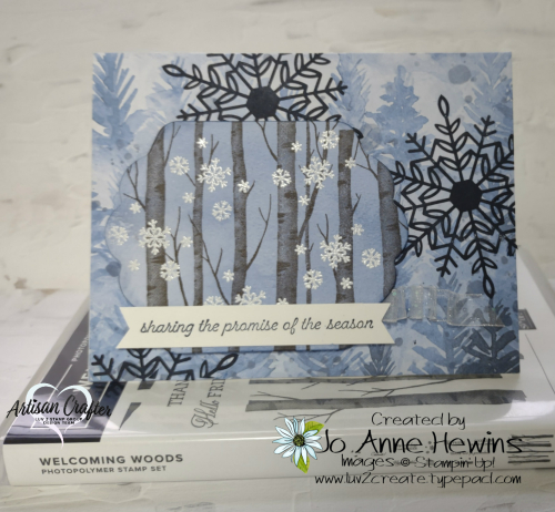 CCMC #683 Welcoming Woods  White Emboss  Beauty of the Earth DSP  Wonderful Snowflakes  Jo Anne Hewins