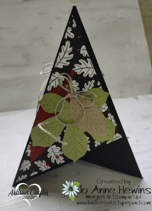 Teepee Card Side 3  Pattern Party DSP  Stitched Leaves dies  Love of leaves  Jo Anne Hewins