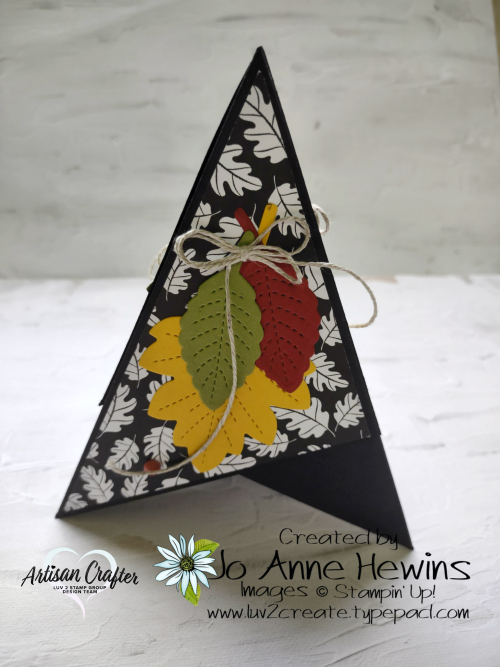 Teepee Card  Side 1  Stitched Leaves  Love of Leaves  Pattern party DSP by Jo Anne Hewins