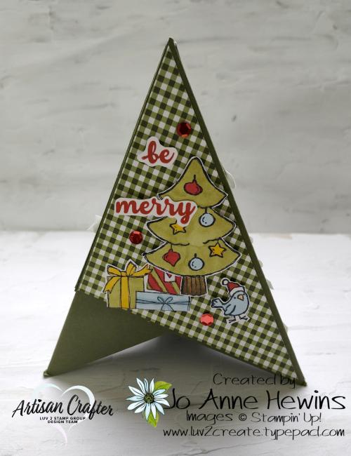 Teepee Card Side 2 Be Jolly  Heartwarming Hugs DSP  by Jo Anne Hewins