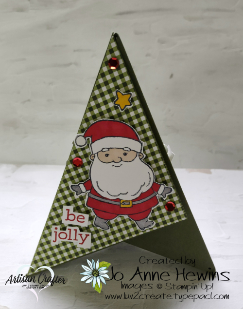 Teepee Card Side 3 Be Jolly  Heartwarming Hugs DSP  Jo Anne Hewins