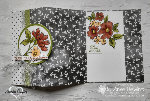 Beautifully Penned with Hand-Penned Petals Open Card  Accordian Fold by Jo Anne Hewins
