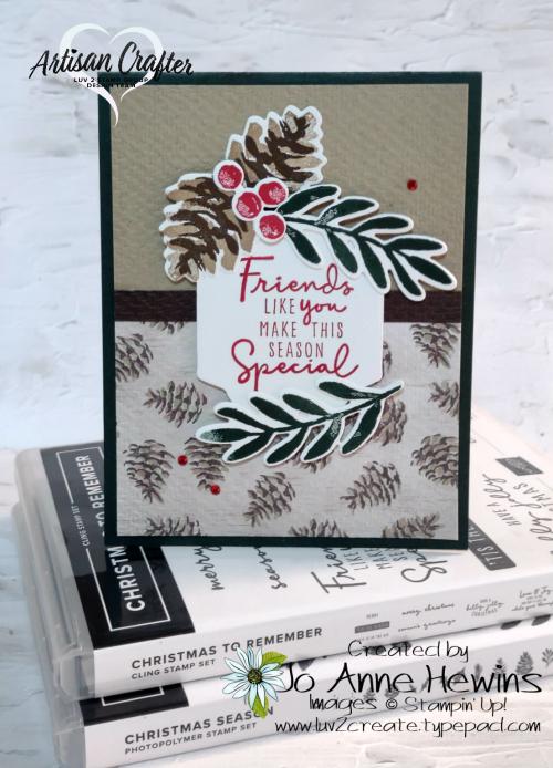 Christmas Season  Seasonal labels dies  Christmas Season bundle  stamp sets used  Painted Christmas DSP  Jo Anne Hewins  Luv 2 Create