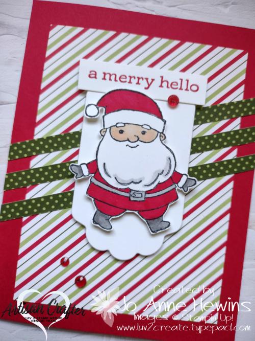 CCMC#685 Be Jolly  Heartwarming Hugs DSP  Blends  Seasonal Labels dies  Jo Anne Hewins  Luv 2 Create