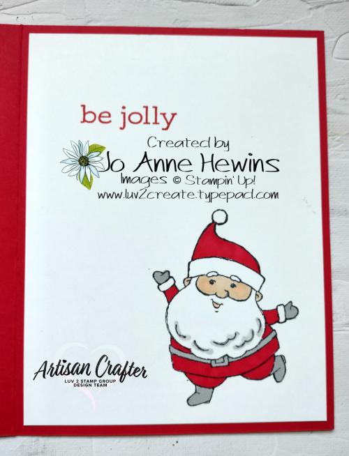 CCMC #685 Be Jolly  Inside of Card  Seasonal Labels Dies  Heartwarming Hugs DSP  Jo Anne Hewins  Luv 2 Create