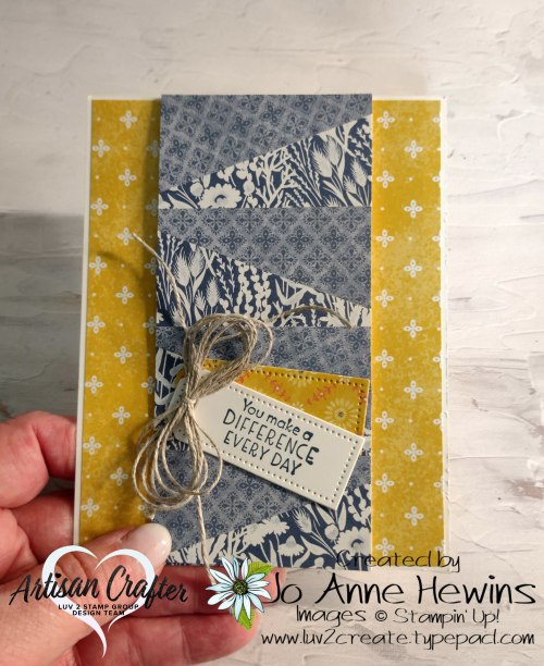 Using Your Scraps  Inspiring Thoughts  Tailor Made Tags  Linen Thread  Nature's Meadow DSP  Luv 2 Create  Jo Anne Hewins