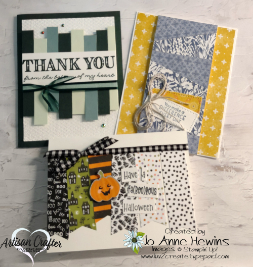Using You Scraps  Scrappy Strips  Foam Adhesive Sheet  Embossing  Banners  Jo Anne Hewins  Luv 2 Create