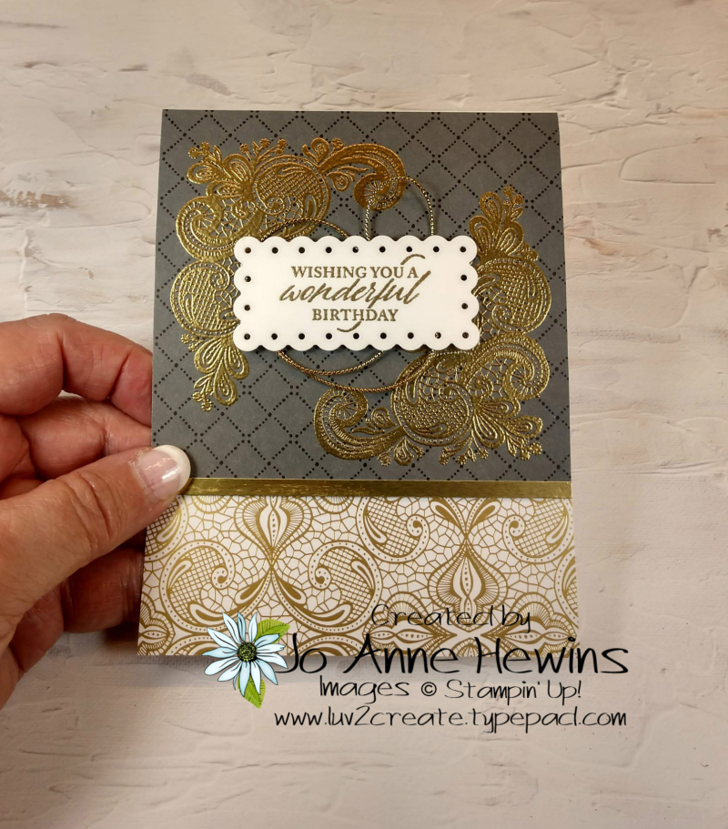 Elegantly Said Facebook Gold Emboss Card by Jo Anne Hewins