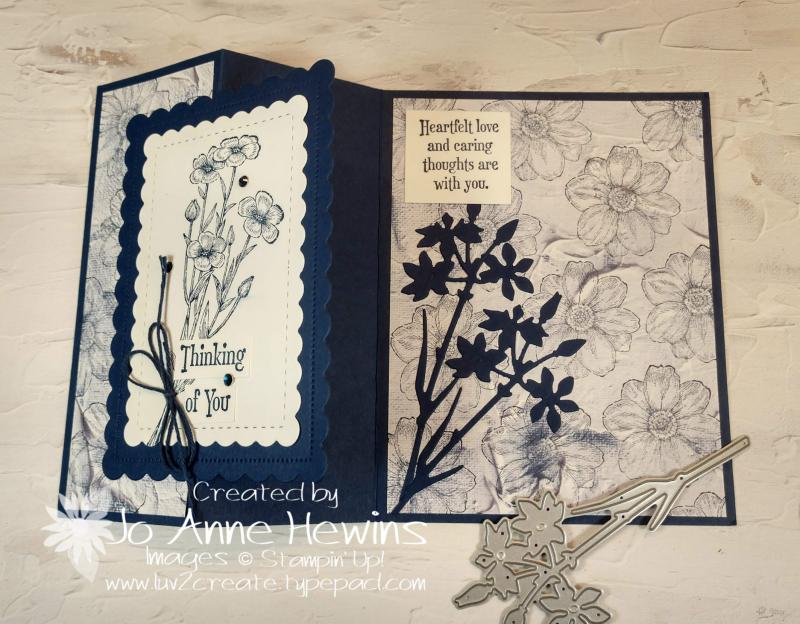 Quiet Meadow Fun Fold Card Open by Jo Anne Hewins