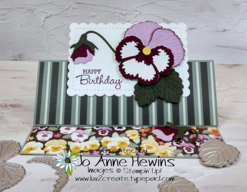Pansy Patch Fun Fold Standing Card by Jo Anne Hewins