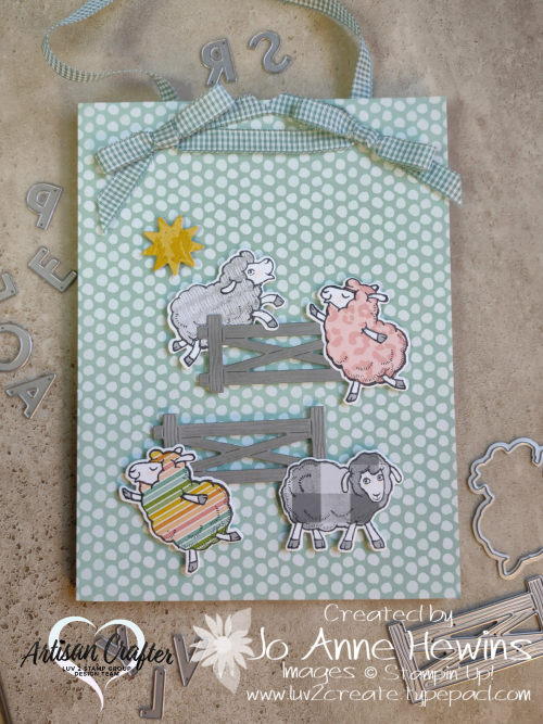 Counting Sheep Sagan's Door Sign Family with Bows by Jo Anne Hewins