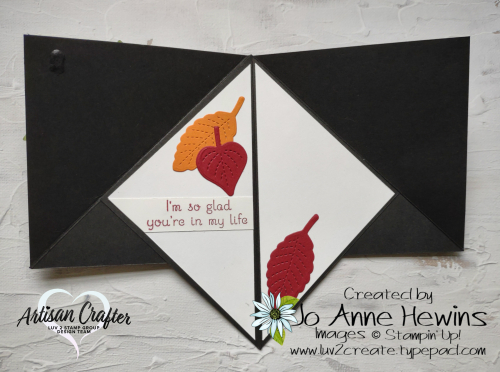 Teepee Card  Pattern Party DSP  Stitched Leaves dies  Love of Leaves Project by Jo Anne Hewins