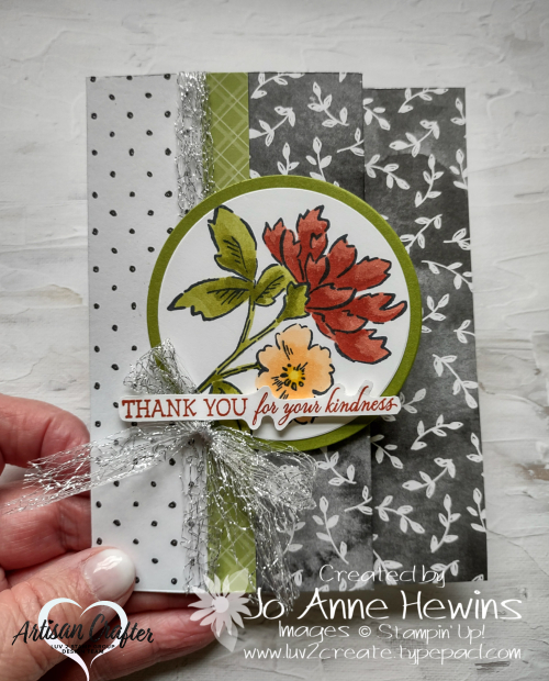 Beautifully Penned with Hand-Penned Petals Holding Card  Accordian Fold by Jo Anne Hewins