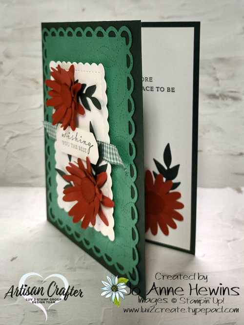 Color Fusers October Card Mini Daisy Punch  Forever Flourishing dies  Scallop Contours dies  Jo Anne Hewins  Luv 2 Create