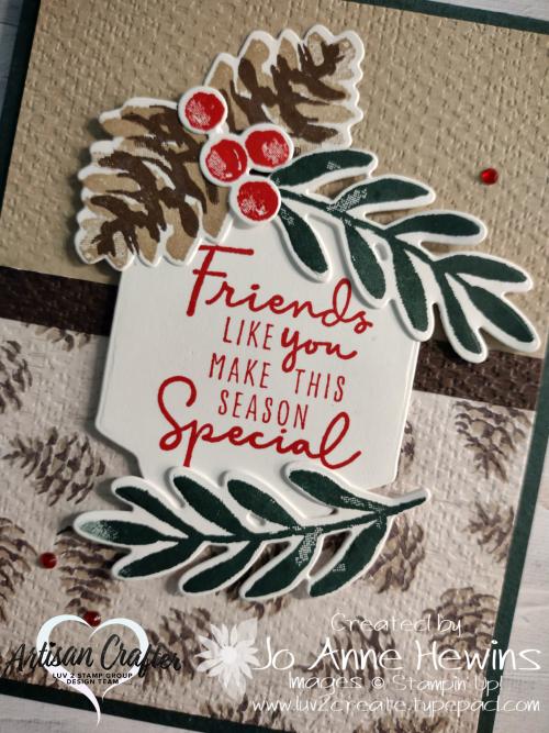 Christmas Season  Seasonal Labels dies  Christmas Season bundle  Painted Christmas DSP  Tasteful Textiles EF  Close Up  Jo Anne Hewins  Luv 2 Create
