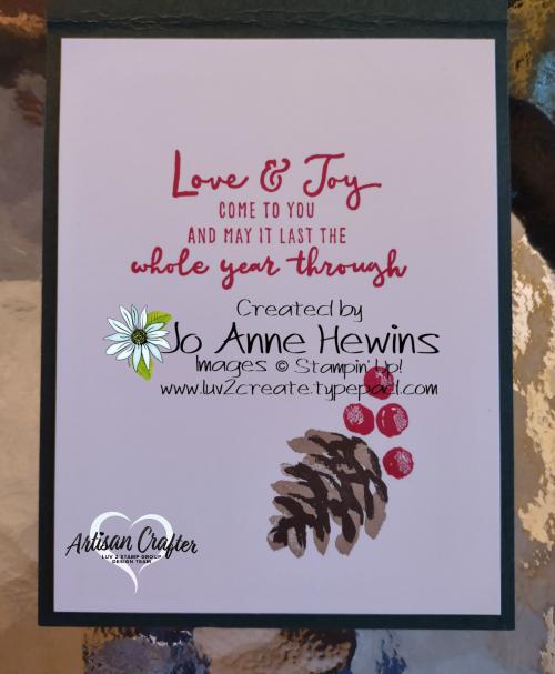 Christmas Season  inside of card  Luv 2 Create  Jo Anne Hewins