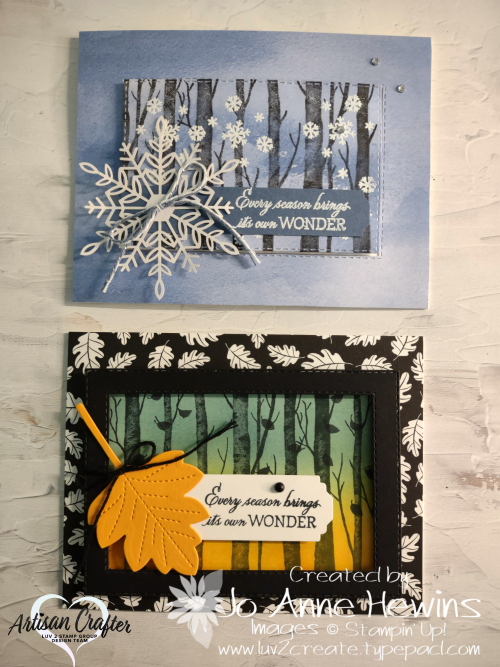 Facebook Live 10.20.2021 Welcoming Woods Cards  Blending Brushes  Stitched Rectangles dies  Stitched Leaves dies  Flowers for Every Season Ribbon Combo Pack  Luv 2 Create  Jo Anne Hewins